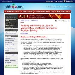 AdLIT > In Perspective Magazine > Reading and Writing to Learn in Mathematics: Strategies to Improve Problem Solving