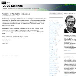 2020 Science — Providing a clear perspective on developing scien