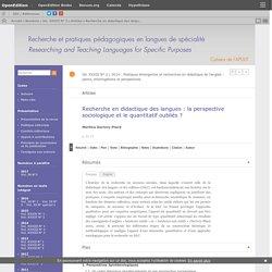 Recherche en didactique des langues: la perspective sociologique et le quantitatif oubliés?