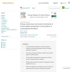 Energy democracy and social movements: A multi-coalition perspective on the politics of sustainability transitions