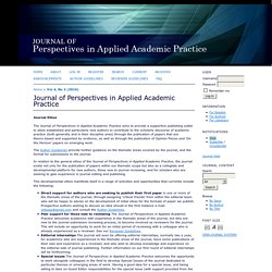 Journal of Perspectives in Applied Academic Practice