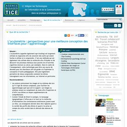 L'Agence nationale des Usages des TICE - L'oculométrie : perspectives pour une meilleure conception des interfaces pour l'apprentissage