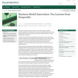 Business Model Innovation: Ten Lessons from Nonprofits