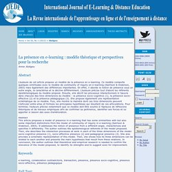 La présence en e-learning : modèle théorique et perspectives pour la recherche