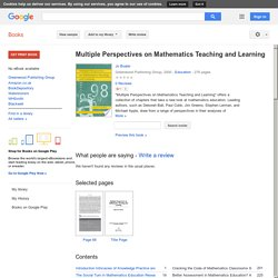 Multiple Perspectives on Mathematics Teaching and Learning - Jo Boaler