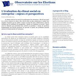 L'évaluation du climat social en entreprise : enjeux et perspectives - Observatoire sur les Elections