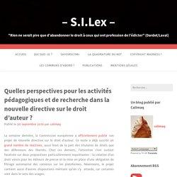 Quelles perspectives pour les activités pédagogiques et de recherche dans la nouvelle directive sur le droit d'auteur ? – – S.I.Lex –