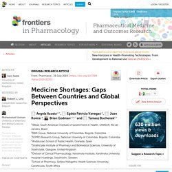 Medicine Shortages: Gaps Between Countries and Global Perspectives