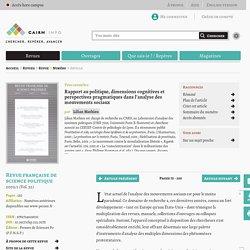 Rapport au politique, dimensions cognitives et perspectives pragmatiques dans l'analyse des mouvements sociaux