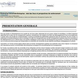 Partenariat Université-Entreprise : état des lieux et perspectives de renforcement - MARZOUGUI Antar et HAMDI Salima