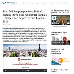 Bilan 2015 et perspectives 2016 du marché immobilier résidentiel français – Conférence de presse du 14 janvier 2016
