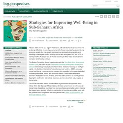 Strategies for Improving Well-being in Sub-Saharan Africa