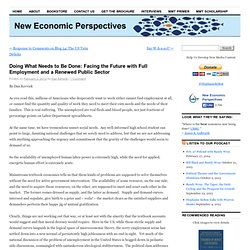 New Economic Perspectives: Doing What Needs to Be Done: Facing the Future with Full Employment and a Renewed Public Sector