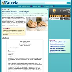 Persuasive Business Letter Example