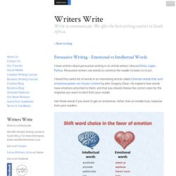Persuasive Writing - Emotional vs Intellectual Words