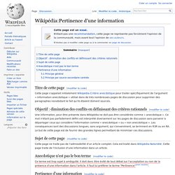 Wikipédia:Pertinence d'une information