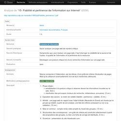 15- Fiabilité et pertinence de l'information sur Internet