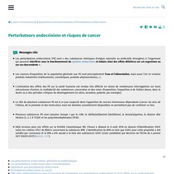 Perturbateurs endocriniens et cancer, liste des Perturbateurs endocriniens, risques cancer