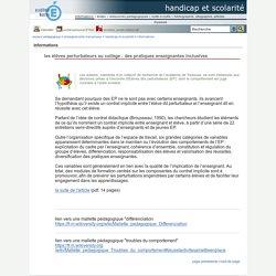 handicap et scolarité - les élèves perturbateurs au collège : des pratiques enseignantes inclusives