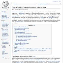Perturbation theory (quantum mechanics)