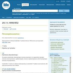 Perusopetusasetus 852/1998 - Ajantasainen lainsäädäntö - FINLEX ®
