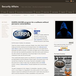 DARPA HACMS program for a software without pervasive vulnerabilities - Security Affairs