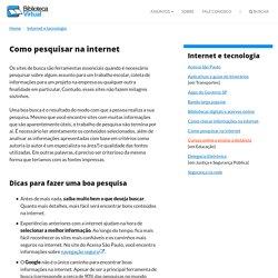 Guião: como pesquisar informações na Internet