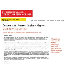 DOCTORS AND NURSES LETTERS TO MAYOR