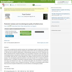 FOOD CONTROL - 2010 - Pesticide residues and microbiological quality of bottled wines