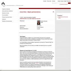 PARLEMENT SUISSE 06/12/11 Pesticide dans le riz. Quel impact sur les prix?
