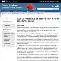 ACIA 24/09/12 2009-2010 Résidus de pesticides et métaux dans le thé séché