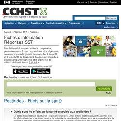 Pesticides - Effets sur la santé