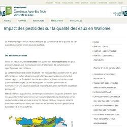 UNIVERSITE DE LIEGE / GEMBLOUX - 2012 - Impact des pesticides sur la qualité des eaux en Wallonie