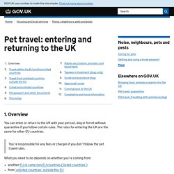 Britischen Veterinärverwaltung: Taking your pet abroad