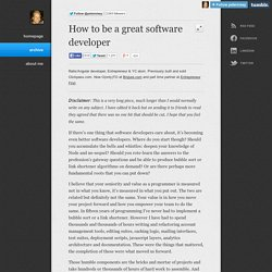 Peter Nixey - How to be a great software developer