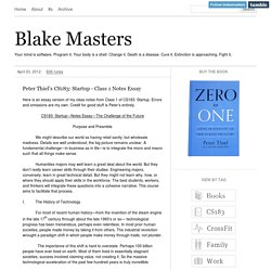Peter Thiel's CS183: Startup - Class 1 Notes Essay