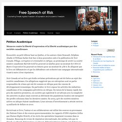 Pétition Académique | Free Speech at Risk