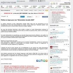 """Pétition en ligne pour une """"Alimentation durable 2020"""""""