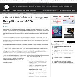 Une pétition anti-ACTA