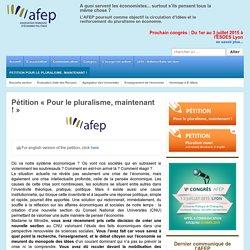 """Pétition """"Pour le pluralisme, maintenant !"""" - AFEP"""