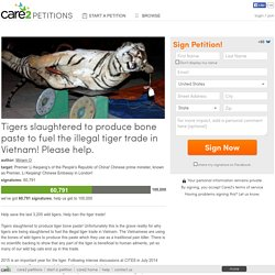 Tigers slaughtered to produce bone paste to fuel the illegal tiger trade in Vietnam! Please help.
