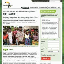 Vol des terres pour l'huile de palme: NON c'est NON