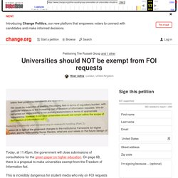 Petition · Universities should NOT be exempt from FOI requests · Change.org