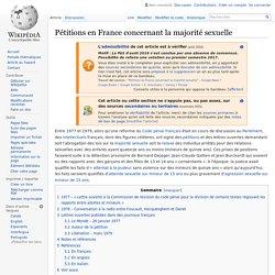 Pétitions en France concernant la majorité sexuelle
