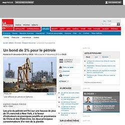 Un bond de 3% pour le pétrole