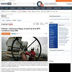 Pétrole : lâché par l'Opep, le baril de brut WTI s'enfonce sous 38$