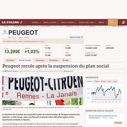 Peugeot recule après la suspension du plan social