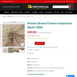 Pewter Brown Flowers Imported Work-1398 – Fabric Duniya