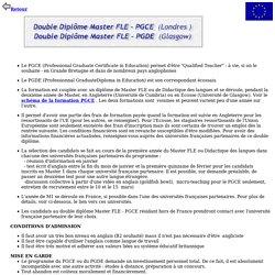 généralités sur les masters PGCE