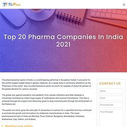 Top 20 Pharma Companies in India 2021